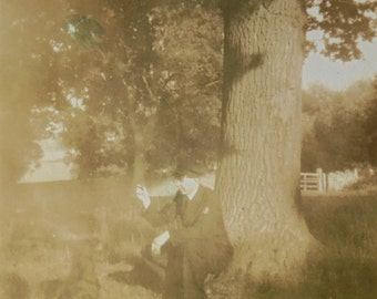 Vintage Photograph - Man in Uniform Sat with his Dog in Stroud, England