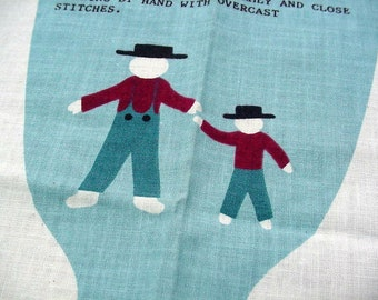 Vintage 70s Fabric Panel -Amish Dolls Toys to Sew n Stuff -Joseph & Isaac with Clothes, Blue Overalls, Burgundy Shirt, Black Hat 2 Boy Dolls