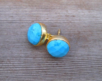 Gold Stud Earrings,  Turquoise Post Earrings, Bezel Set, 10 mm Faceted Round Stones, December Birthstone, Natural Turquoise Jewelry