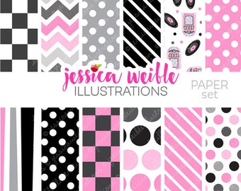 50s Sock Hop Cute Digital Paper Backgrounds for Commercial or Personal Use, Retro Pink Black Papers, Patterns