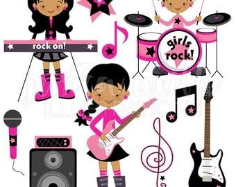 Dark Girls Rock Cute Digital Clipart - Commercial Use OK - Rockstar Clipart, Rock Star Graphics, Girls Guitar, Girl Drummer, Music Clip art