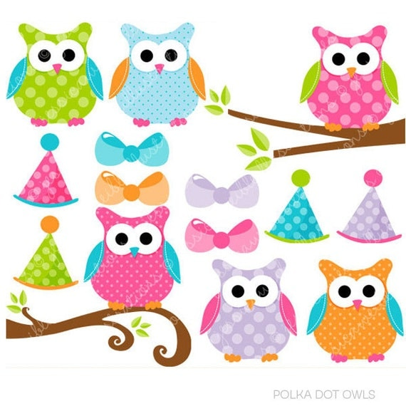 Polka Dot Owls Cute Digital Clipart, Commercial Use Clip art, Cute Polka Dot Owl Clip Art, Owls on Branches, Pink Owl Graphics, Party Owl