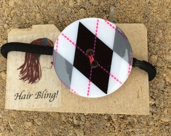 Pink Stitches Plaid Button Ponytail Holder