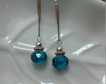 Long Blue Copper Earrings, Long Copper Silver Earrings, Long Blue Silver Dangle Earrings, Copper Blue Silver Earrings
