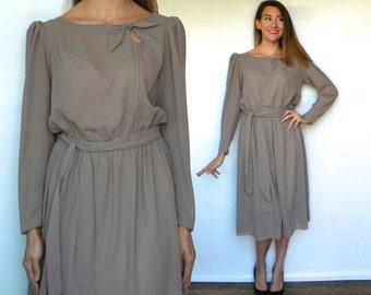 70s Tan Chiffon Dress | Lovely Beige Day Dress, Medium
