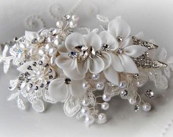 Ivory Hair Flower, Bridal Fascinator, Lace Rhinestone and Pearl Wedding Clip, Crystal Hair Vine - JENNA
