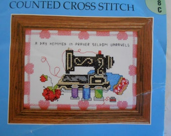 Counted Cross Stitch SEWING singer machine 5013 Candamar Designs. Half-finished. Hemmed in Prayer