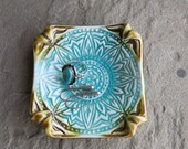 Sunflower Mandala Ceramic Trinket Dish Handcrafted with Stamped Floral Image in Aqua Blue and Brown, Handmade Pottery by Licia Lucas Pfadt