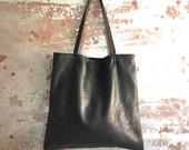 Black Leather Tote Bag - soft black leather bag -  simple black everyday bag - hemmed black tote
