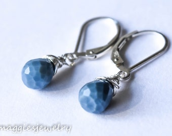 Serenity Blue Opal Earrings, Sterling Silver, Natural Gemstone, Blue Opal Earrings, October Birthstone, Everyday, Blue Earrings