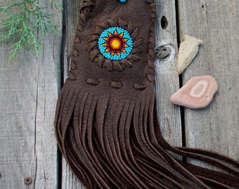 Beaded medicine bag,  beaded amulet bag , necklace bag , handmade beadwork , handmade leather pouch