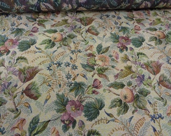 """54"""" Wide Vintage Victorian Style Cotton Blend Upholstery Fabric for Chair Cushions Ottomans Benches Settee Floral Fabric Fruit Print ST"""