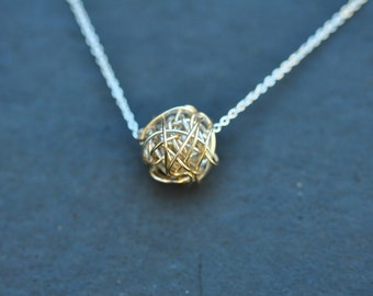 GOLD & SILVER Knot on silver chain necklace, Love knot necklace, modern necklace, everyday necklace, love necklace, bridesmaid necklace