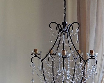 Birdcage crystal chandelier, clear Murano glass crystals, drops and chains, shabby chic style crystal chandelier made to order