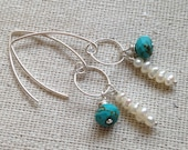 Petite Fresh Water Pearls and Faceted Turquoise Earrings with Sterling Silver