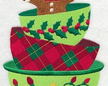 Christmas Baking Stack Embroidered White Cotton Hand Kitchen Towel, Whimsical Christmas