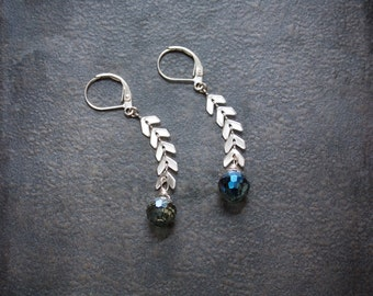Silver Chevron Chain Geometric Earrings with Blue Luster Crystal Disco Ball Beads