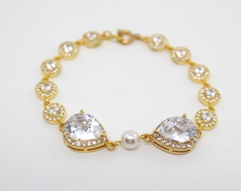 Gold Bridal Bracelet, Cubic Zirconia Bracelet, Gold Wedding Jewelry, Gold Bridal Jewelry, Gold Rhinestone Bracelet, Luxury Wedding Bracelet
