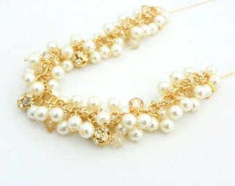 Gold Cluster Necklace, Chunky Pearl Necklace, Champagne Pearl Necklace, Pearl Bridal Necklace, Pearl Wedding Necklace Bridal Jewelry Gold