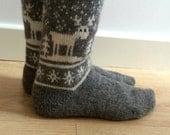 READY TO SHIP Grey White Wool Socks Reindeer Deer Buck Christmas Winter Nordic Fairisle