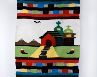 Native American Woven Rug || Wall Hanging || Church and Mountains