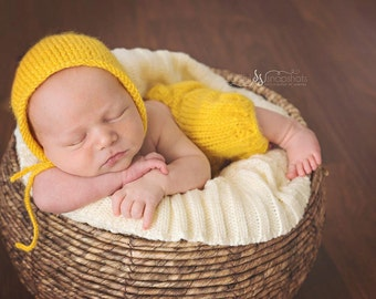 Newborn Angel Hair Knit Pants Set with Matching Bonnet - Bright Mustard - Ribbed - Drawstrings - Knit Bonnet with Ties- Photography Prop