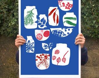 "Spices & Herbs Blue - 20""x27"" Kitchen Art poster print - archival fine art giclée print"
