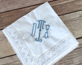 Monogrammed Chapel Lace Something Blue Bridal Embroidered Handkerchief