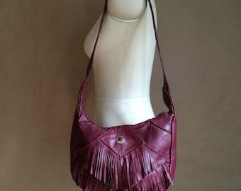 vintage 1980's fringed leather handbag / purse  / shoulder bag / rocker boho bohemian / vintage handbag
