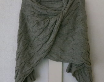 Hand Knit Gray 100% Linen Cable SHAWL Scarf Wrap