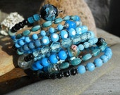 Blue             Antique French Rosary Murano Glass Beaded Cuff Wrap Assemblage Bracelet