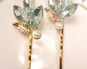 Mint Green Gold Leaves Bridal Hair Pins Bridesmaid Gift Set 2 4 6 Rhinestone Pearl Earring Bobby Pins Vintage Wedding Clips Romantic Wedding