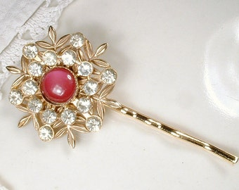 OOAK Raspberry Red/Pink Gold Bridal Hair Pin, Vintage Large Lacy Rhinestone Wedding Bobby Pin Maid of Honor Clip Something Old Accessory