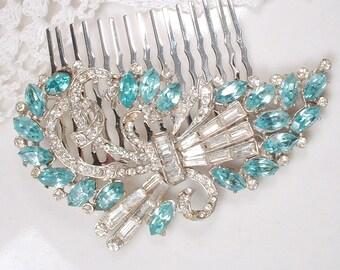 OOAK Aqua Blue Art Deco Rhinestone Bridal Hair Comb, Vintage Silver Teal Clear Pave Crystal Brooch to Headpiece Aquamarine Wedding Comb