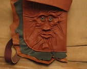"Grichels leather large shoulder bag - ""Blarbly"" 27825 - rusty brown and green with green star eyes"