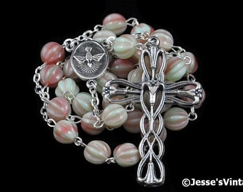 Anglican Rosary Mint Green Pink Prayer Rosary Beads Pistachio Raspberry Czech Glass Melon Silver Christian Episcopal