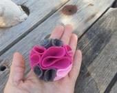 multi color felt magnetic brooch - gray, rose, pale pink