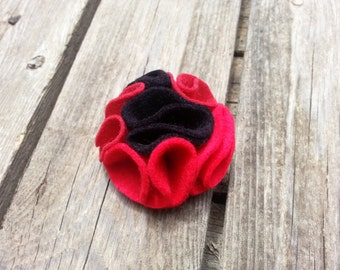 multi color felt magnetic brooch - Cherry Red, Bright red, Black