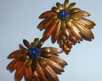Vintage Copper And Gold Tone Pineapple Earrings With Blue Stone