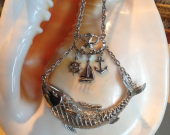 Large Nautical Theme Sailor Pendant Necklace – 1970s Big Fish Anchor Sailboat