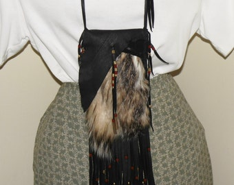 Leather and badger fur medicine bag eye glass holder cell phone pouch and cross body shoulder bag