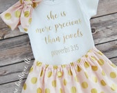 Baby Girl Outfit; She Is More Precious Than Jewels Outfit; Babygirl Outfit; Baby girl Bodysuit with Skirt