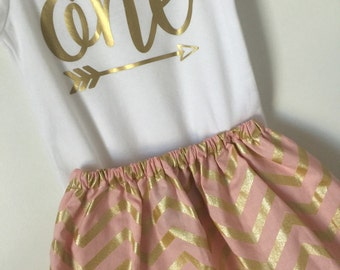 1st Birthday Outfit baby girl gold and blush 'one' outfit; onesie and skirt for first birthday