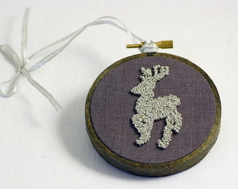Silver Reindeer Silhouette Christmas Ornament Embroidery Hoop Art. Silver, Grey. Three Inch Hoop.