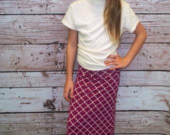 Girls Plum / Cream Quatrefoil Maxi Skirt - Girls Maxi Skirt - Sizes 2 years - 12 years - Mommy & Me Matching Maxi Skirts