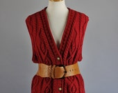 Vintage 90s Womens Eddie Bauer Red Cable Knit Cotton Office Preppy Spring Sweater Vest