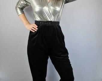 Vintage 80s Silver Metallic Lame Black Velvet Party Glam Jumpsuit
