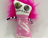 Think Pink Zombie Monster Doll Softie Plushie Breast Cancer Awareness