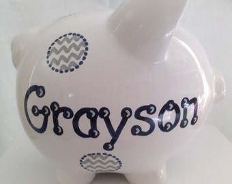 Personalized Large Grey Navy Chevron Piggy Bank  Newborns ,1st  Birthday , Ring Bearer ,Flower Girl,Baby Shower Gift Centerpiece