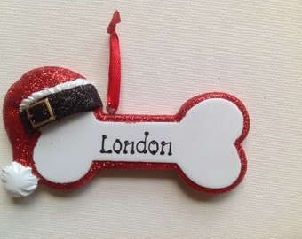 Personalized Christmas Ornaments-Pet Dog, Puppy  Dog Bone Puppy / Dog Stocking- Free Personalizeation with the name and the year